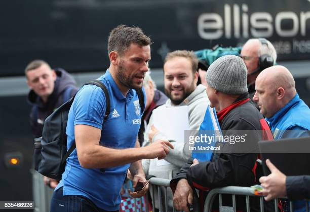 Ben Foster of West Bromwich Albion signs autographs as he arrives at the stadium prior to the Premier League match between Burnley and West Bromwich...