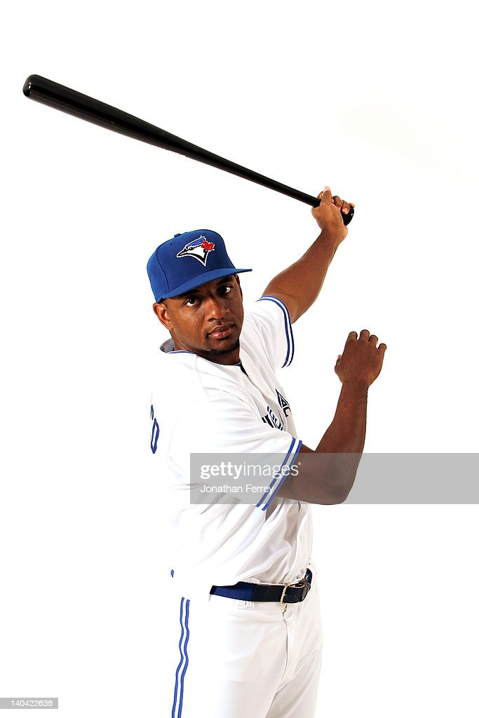<a gi-track='captionPersonalityLinkClicked' href=/galleries/search?phrase=Ben+Francisco&family=editorial&specificpeople=836205 ng-click='$event.stopPropagation()'>Ben Francisco</a> #8 of the Toronto Blue Jays poses for a portrait at Dunedin Stadium on March 2, 2012 in Dunedin, Florida.