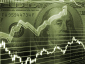 3D Rendered Abstract Background of one hundred dollar bill with stock market chart