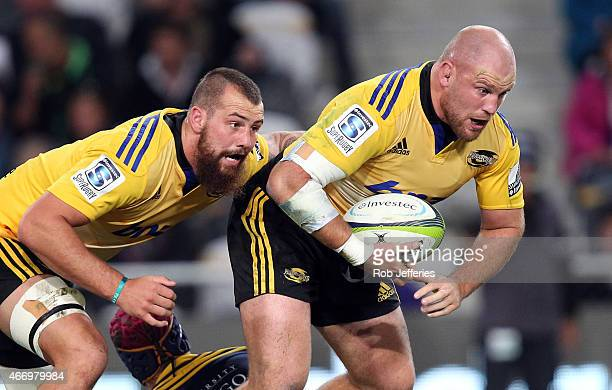 Ben Franks and Blade Thomson of the Hurricanes in action during the round six Super Rugby match between the Highlanders and the Hurricanes at Forsyth...