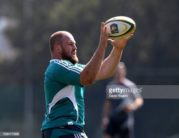 Ben Franks catches the ball during a New Zealand All Blacks training session at Witswatersrand University on August 17 2010 in Johannesburg South...