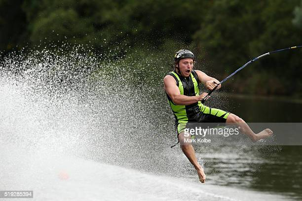 Ben Franks competes in the mens jump event during the 2016 Australian Barefoot Championships at the NSW Barefoot Water Ski Club on April 1 2016 in...