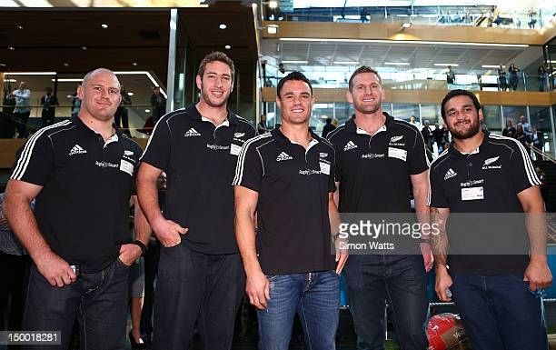 Ben Franks Luke Romano Dan Carter Kieran Read and Piri Weepu of the New Zealand All Blacks pose for a photo at the unveiling of Telecomexclusive...