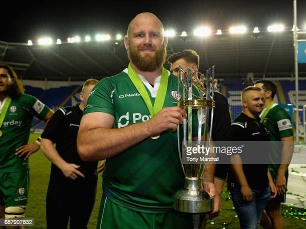 Ben Franks of London Irish poses with the trophy during the Greene King IPA Championship Final Second Leg match between London Irish and Yorkshire...