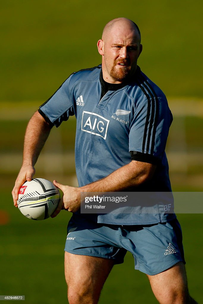 <a gi-track='captionPersonalityLinkClicked' href=/galleries/search?phrase=Ben+Franks&family=editorial&specificpeople=3940695 ng-click='$event.stopPropagation()'>Ben Franks</a> of the All Blacks passes during a New Zealand All Blacks training session at North Harbour Stadium on July 31, 2014 in Auckland, New Zealand.
