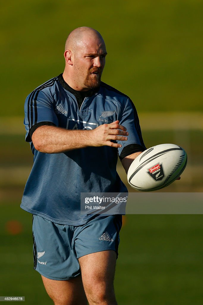 Ben Franks of the All Blacks passes during a New Zealand All Blacks training session at North Harbour Stadium on July 31, 2014 in Auckland, New Zealand.