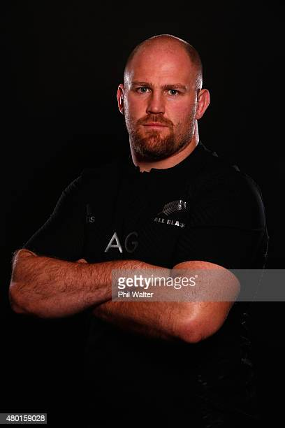 Ben Franks of the All Blacks poses for a portrait during a New Zealand All Blacks portrait session at the George Hotel on July 10 2015 in...