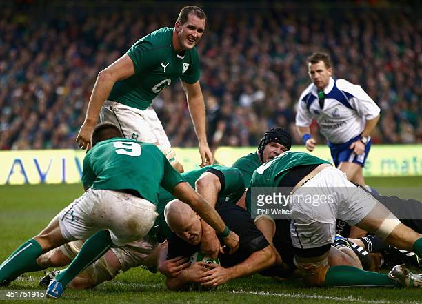 Ben Franks of the All Blacks scores a try during the International match between Ireland and the New Zealand All Blacks at Aviva Stadium on November...