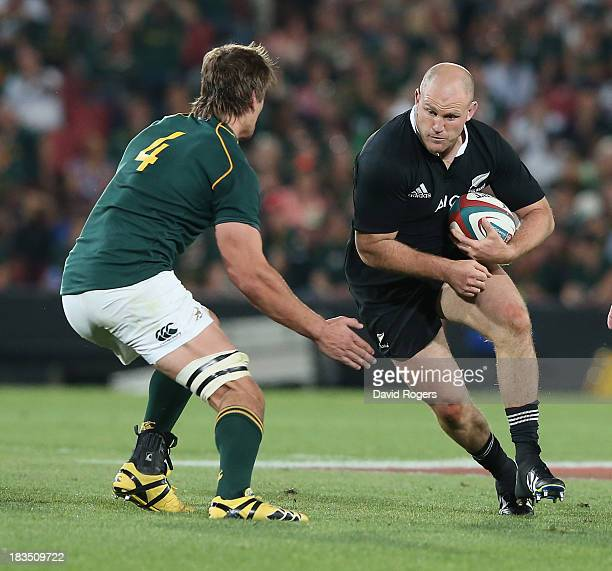 Ben Franks of the All Blacks takes on Eben Etzebeth during the Rugby Championship match between South Africa Springboks and the New Zealand All...