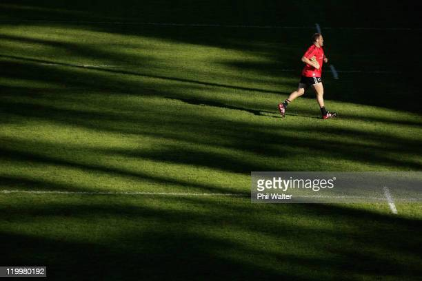 Ben Franks of the All Blacks warms up during a New Zealand All Blacks training session at Rugby League Park on July 28 2011 in Wellington New Zealand