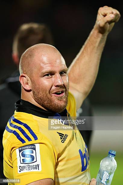 Ben Franks of the Hurricanes celebrates a try from the bench during the round five Super Rugby match between the Hurricanes and the Blues at Arena...
