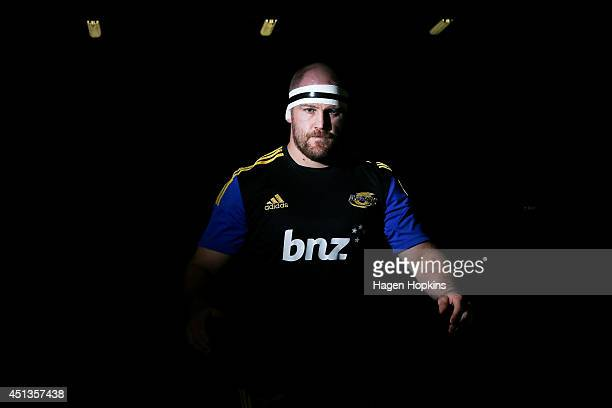 Ben Franks of the Hurricanes takes the field to warm up during the round 17 Super Rugby match between the Hurricanes and the Crusaders at Westpac...