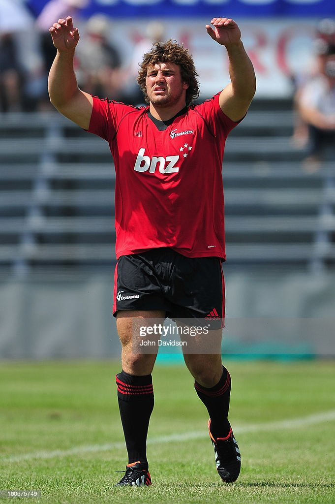 Ben Funnell of the Crusaders in action during the 2013 Super Rugby pre-season friendly match between the Crusaders and the Hurricanes at Alpine Stadium on February 2, 2013 in Timaru, New Zealand.