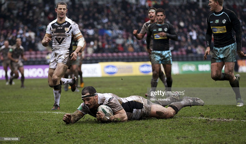 Ben Galea of Hull dives over to score a try during the Super League match between London Broncos and Hull at Twickenham Stoop on March 23, 2013 in London, England.