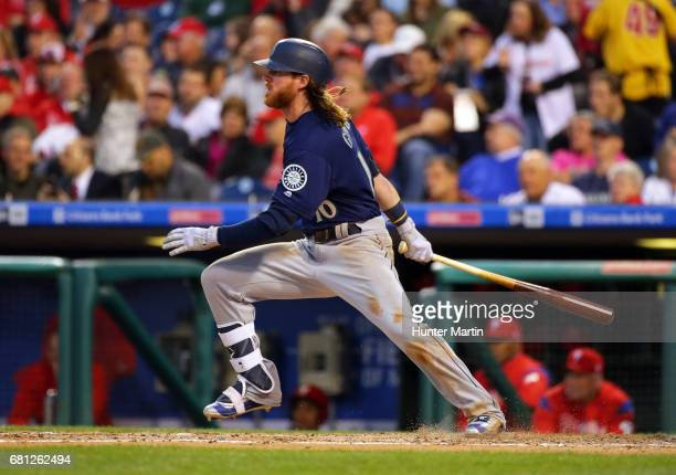Ben Gamel of the Seattle Mariners singles in the third inning during a game against the Philadelphia Phillies at Citizens Bank Park on May 9 2017 in...