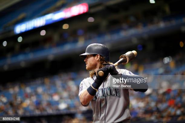 Ben Gamel of the Seattle Mariners waits on deck to bat against pitcher Blake Snell of the Tampa Bay Rays during the 5th inning of a game on August 20...