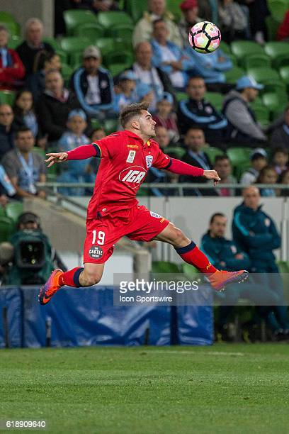 Ben Garuccio of Adelaide United heads the ball during the 4th round of the Hyundai ALeague between Melbourne City and Adelaide United on October 28...