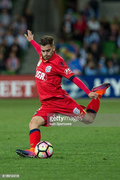 Ben Garuccio of Adelaide United passes the ball during the 4th round of the Hyundai ALeague between Melbourne City and Adelaide United on October 28...