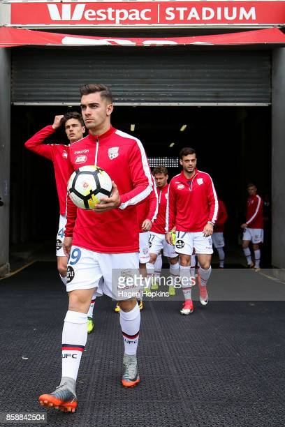 Ben Garuccio of Adelaide United takes the field to warm up during the round one ALeague match between Wellington Phoenix and Adelaide United at...