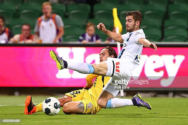 Ben Garuccio of Melbourne attempts to block a pass by Josh Risdon of the Glory during the FFA Cup Semi Final match between Perth Glory and Melbourne...
