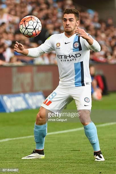 Ben Garuccio of Melbourne City controls the ball during the ALeague Elimination Final match between Melbourne City FC and Perth Glory at AAMI Park on...