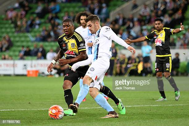 Ben Garuccio of Melbourne City kicks the ball during the round 25 ALeague match between Melbourne City FC and the Wellington Phoenix at AAMI Park on...