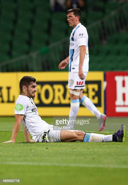 Ben Garuccio of Melbourne looks on after conceding an own goal during the FFA Cup Semi Final match between Perth Glory and Melbourne City FC at nib...