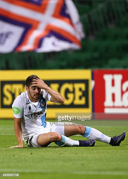 Ben Garuccio of Melbourne reacts after conceding an own goal during the FFA Cup Semi Final match between Perth Glory and Melbourne City FC at nib...