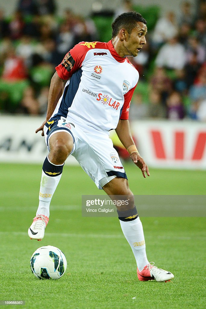 Ben Garuccio of United controls the ball during the round seventeen A-League match between Melbourne Heart and Adelaide United at AAMI Park on January 18, 2013 in Melbourne, Australia.