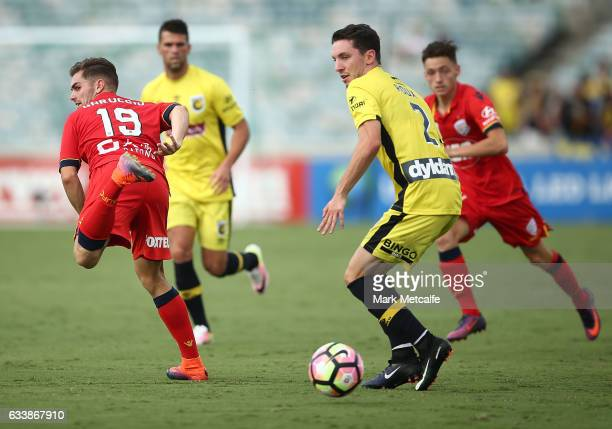 Ben Garuccio of United flicks a pass during the round 18 ALeague match between the Central Coast Mariners and Adelaide United at GIO Stadium on...