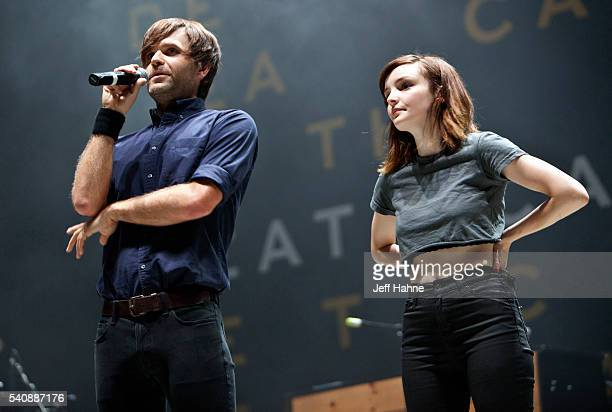 Ben Gibbard of Death Cab for Cutie and Lauren Mayberry of Chvrches talk to the crowd about North Carolina's HB2 at Charlotte Metro Credit Union...