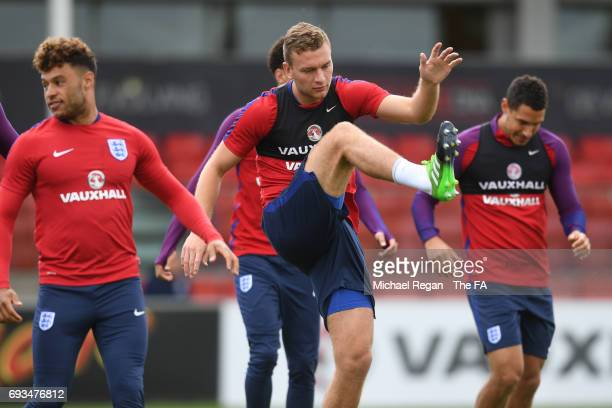 Ben Gibson in action during the England training session at St Georges Park on June 7 2017 in BurtonuponTrent England