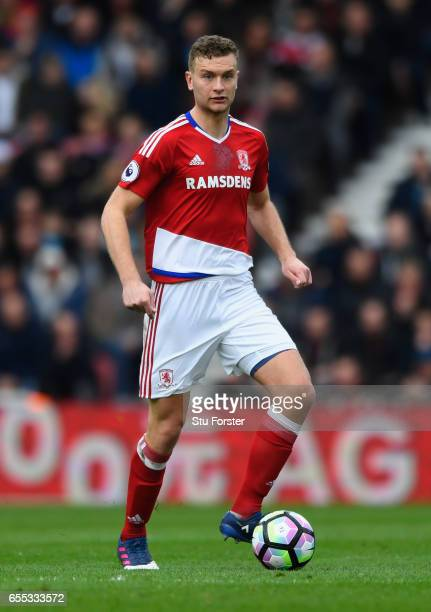 Ben Gibson of Boro in action during the Premier League match between Middlesbrough and Manchester United at Riverside Stadium on March 19 2017 in...