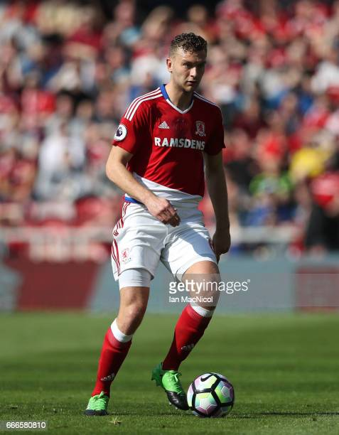 Ben Gibson of Middlesborough controls the ball during the Premier League match between Middlesbrough and Burnley at Riverside Stadium on April 8 2017...