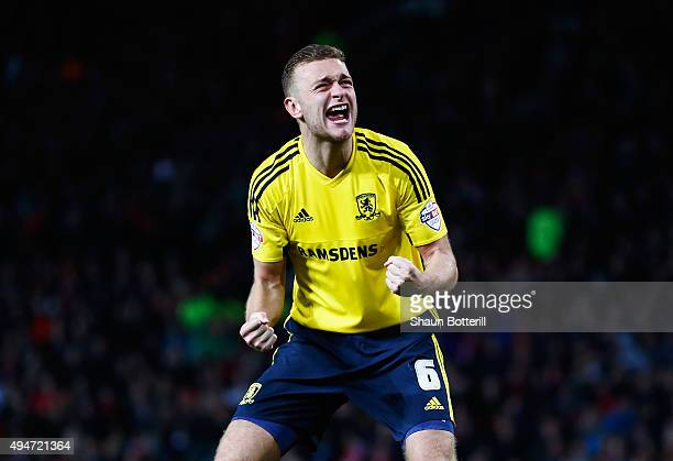 Ben Gibson of Middlesbrough celebrates scoring his penalty during the penalty shoot out during the Capital One Cup Fourth Round match between...