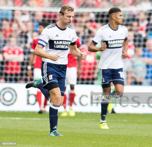 Ben Gibson of Middlesbrough celebrates scoring his teams only goal during the Sky Bet Championship match between Nottingham Forest and Middlesbrough...