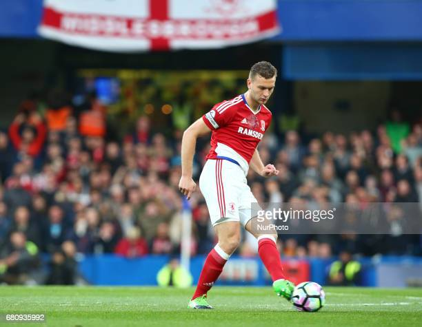 Ben Gibson of Middlesbrough during Premier League match between Chelsea and Middlesbrough at Stamford Bridge London England on 08 May 2017