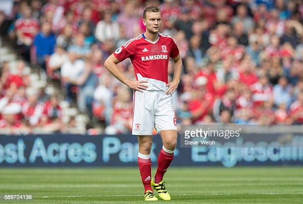 Ben Gibson of Middlesbrough during the Premier League match between Middlesbrough and Stoke City on August 13 2016 in Middlesbrough