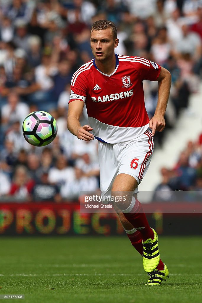 Ben Gibson of Middlesbrough during the Premier League match between West Bromwich Albion and Middlesbrough at The Hawthorns on August 28, 2016 in West Bromwich, England.