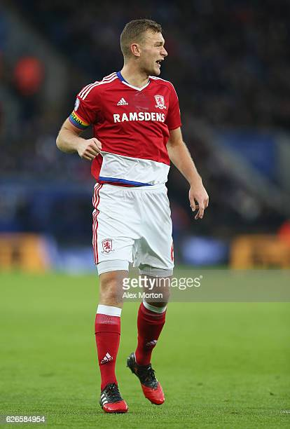Ben Gibson of Middlesbrough during the Premier League match between Leicester City and Middlesbrough at The King Power Stadium on November 26 2016 in...