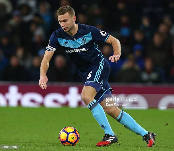 Ben Gibson of Middlesbrough during the Premier League match between Burnley and Middlesbrough at Turf Moor on December 26 2016 in Burnley England