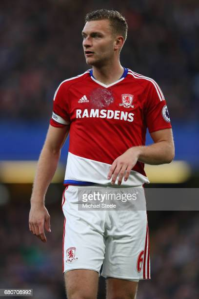 Ben Gibson of Middlesbrough during the Premier League match between Chelsea and Middlesbrough at Stamford Bridge on May 8 2017 in London England