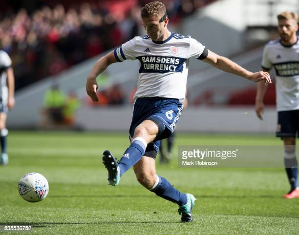Ben Gibson of Middlesbrough during the Sky Bet Championship match between Nottingham Forest and Middlesbrough at City Ground on August 19 2017 in...