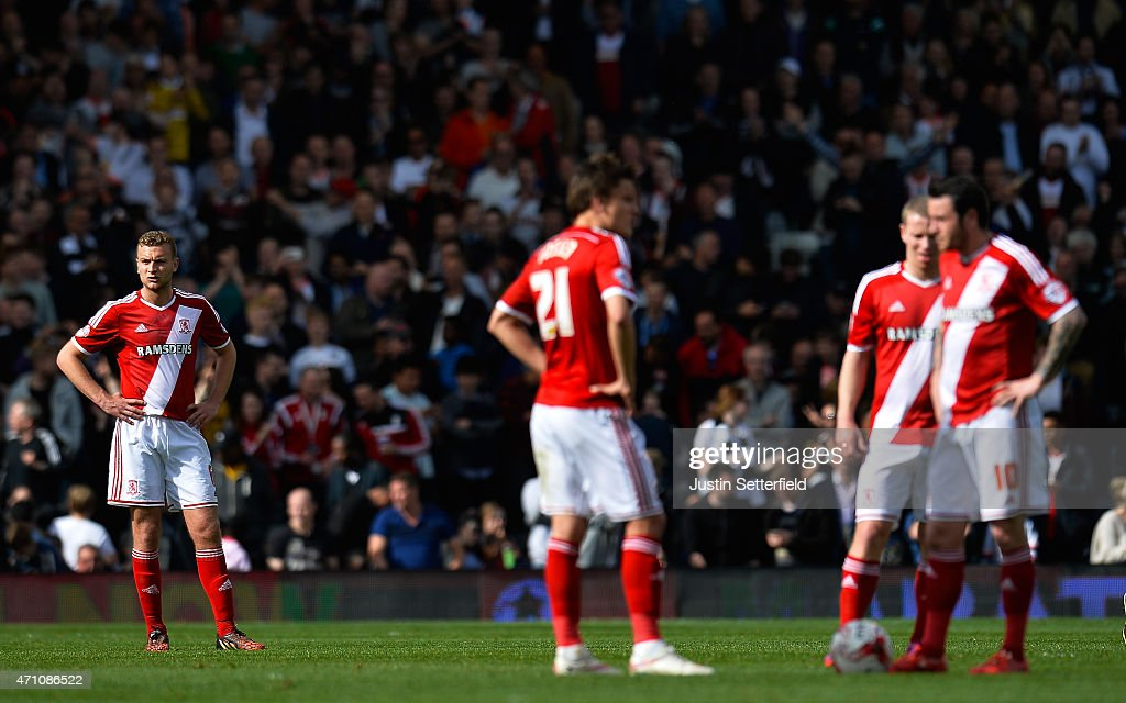 Ben Gibson of Middlesbrough FC looks dejected after Fulham's winning goal during the Sky Bet Championship match between Fulham and Middlesbrough at Craven Cottage on April 25, 2015 in London, England.