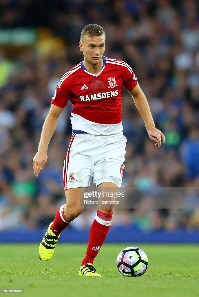 Ben Gibson of Middlesbrough in action during the Premier League match between Everton and Middlesbrough at Goodison Park on September 17, 2016 in Liverpool, England.