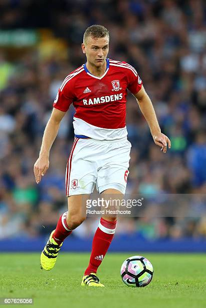 Ben Gibson of Middlesbrough in action during the Premier League match between Everton and Middlesbrough at Goodison Park on September 17 2016 in...
