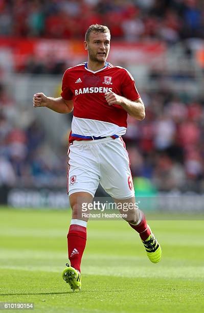 Ben Gibson of Middlesbrough in action during the Premier League match between Middlesbrough and Tottenham Hotspur at Riverside Stadium on September...