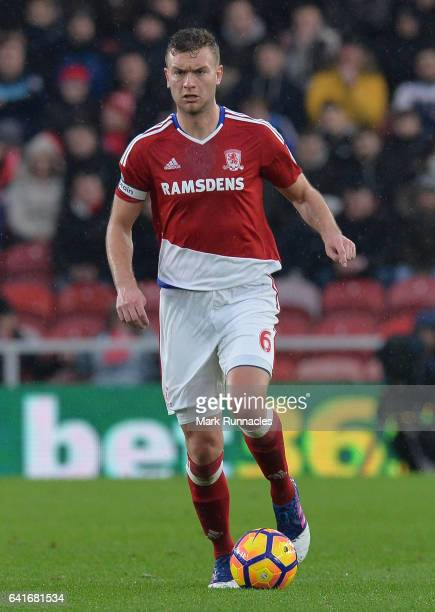 Ben Gibson of Middlesbrough in action during the Premier League match between Middlesbrough and Everton at Riverside Stadium on February 11 2017 in...
