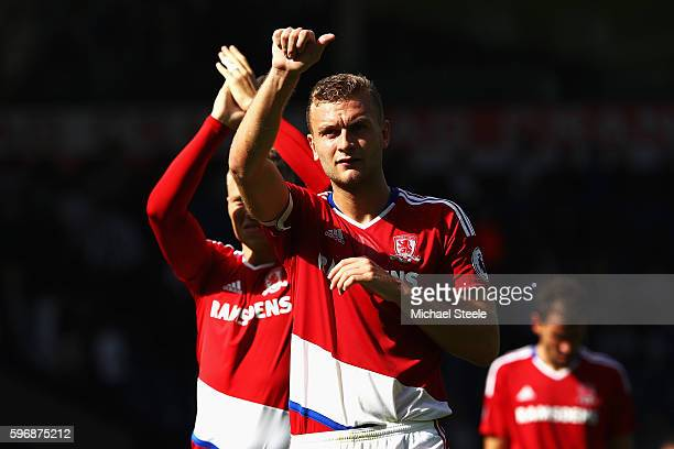 Ben Gibson of Middlesbrough salutes the fans after the Premier League match between West Bromwich Albion and Middlesbrough at The Hawthorns on August...