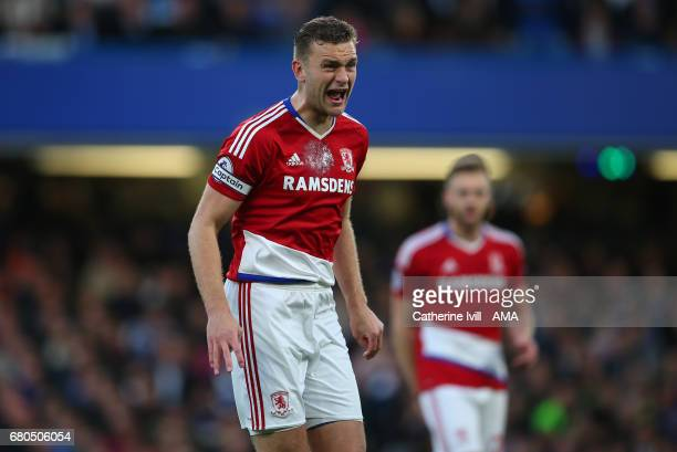 Ben Gibson of Middlesbrough shouts during the Premier League match between Chelsea and Middlesbrough at Stamford Bridge on May 8 2017 in London...